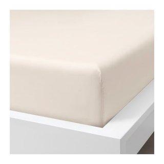 IKEA イケア ボックスシーツ ライトベージュ クイーン 160x200cm z00412789 SOMNTUTA