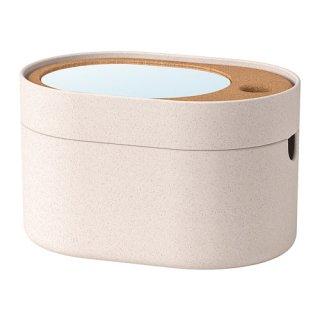 IKEA イケア 収納ボックス ミラーのふた付き プラスチック コルク メイクボックス SAXBORGA n00394016