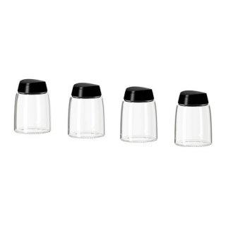 IKEA イケア スパイス瓶 4 ピース ガラス ブラック 90163691 IKEA 366+ IHARDIG