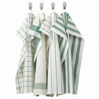 IKEA イケア キッチンクロス ホワイト グリーン 50x65cm 4 ピース 20277766 ELLY