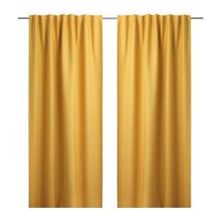 IKEA イケア カーテン 長さ250cm×幅145cm 1組 イエロー 20375130 VILBORG