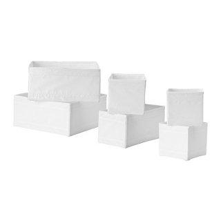 IKEA イケア SKUBB スクッブ ボックス6点/セット ホワイト 20428553 各2点/14×14×13cm、28×14×13cm、28×28×13cm