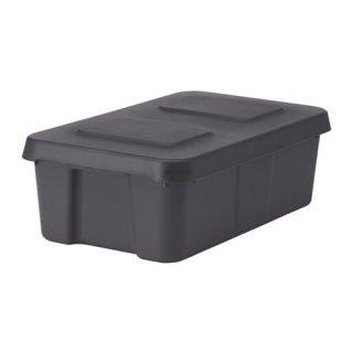 IKEA イケア KLAMTARE ふた付きボックス 室内/屋外用 ダークグレー z30292361