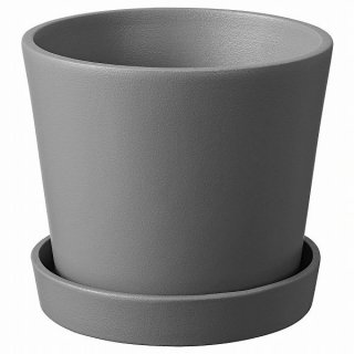 IKEA イケア 植木鉢 受け皿付き コンクリート調 グレー 屋外用 12cm n40484524 SMULGUBBE