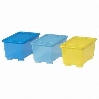 IKEA イケア ふた付きボックス イエロー ブルー 17x10cm 3ピース n20466154 GLIS