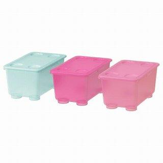 IKEA イケア ふた付きボックス ピンク ターコイズ 17x10cm 3ピース n00466150 GLIS