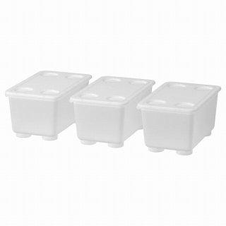 IKEA イケア ふた付きボックス 透明 17x10cm 3ピース 3ピース n60466147 GLIS
