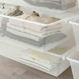 IKEA イケア メッシュバスケット ホワイト 60x40x15cm n00453529 BOAXEL