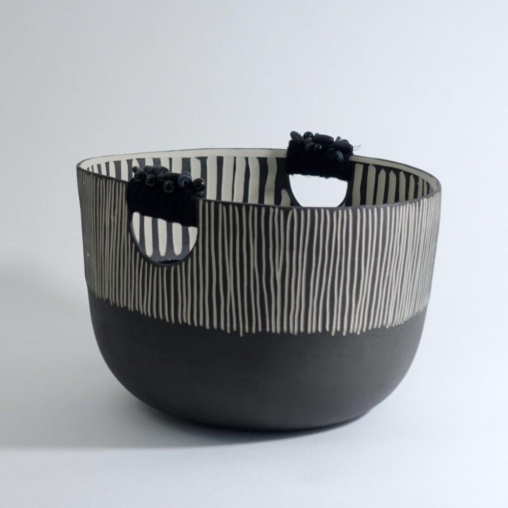 black striped basket