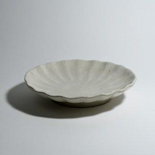 白釉輪花皿 7寸