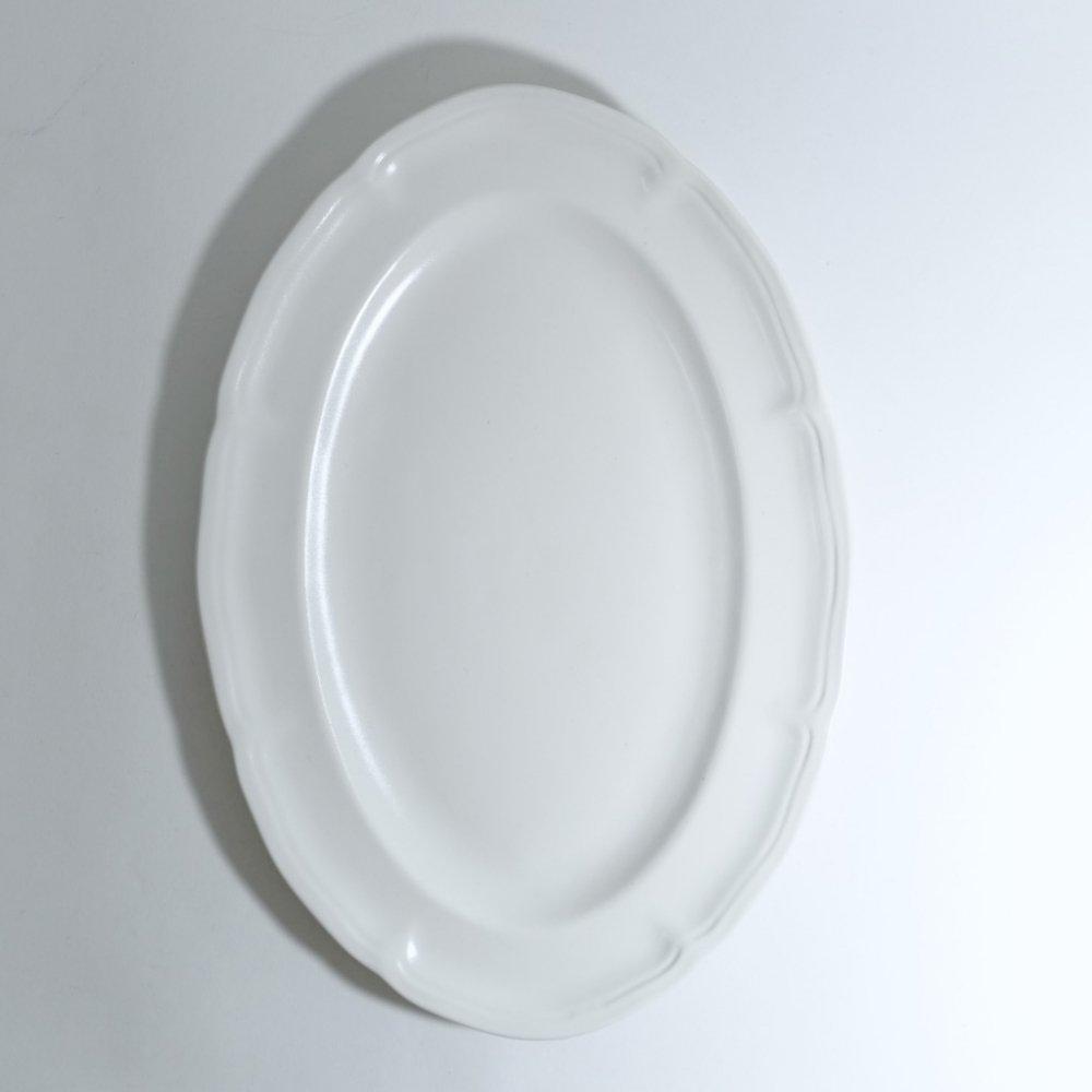 ピューターオーバルリム皿 白釉