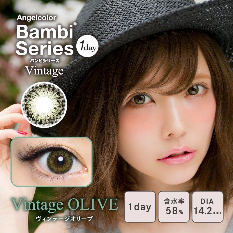 AngelColor BambiSeries1day Vintage エンジェルカラーバンビシリーズワンデー ヴィンテージ オリーブ(1箱10枚入り)