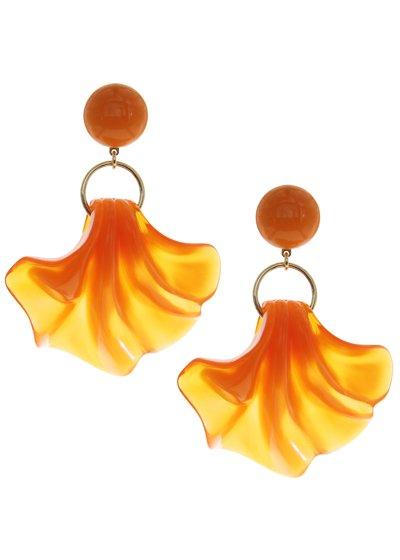 Clear Orange シェル イヤリング