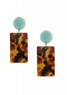 Turquoise × Brown / Light Brown レクタングル イヤリング