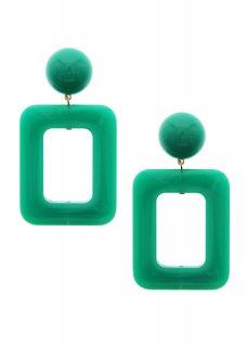 Green レクタングルドロップ イヤリング