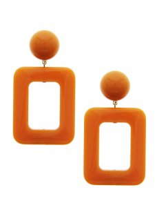 Orange レクタングルドロップ イヤリング