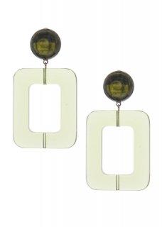 Clear olive レクタングルドロップ イヤリング