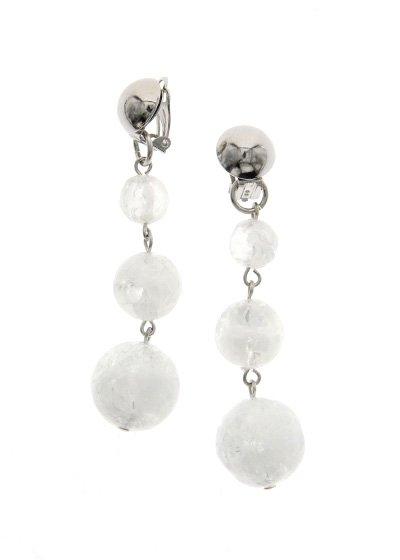 Silver &White Glitter スリープラネット ピアス/イヤリング