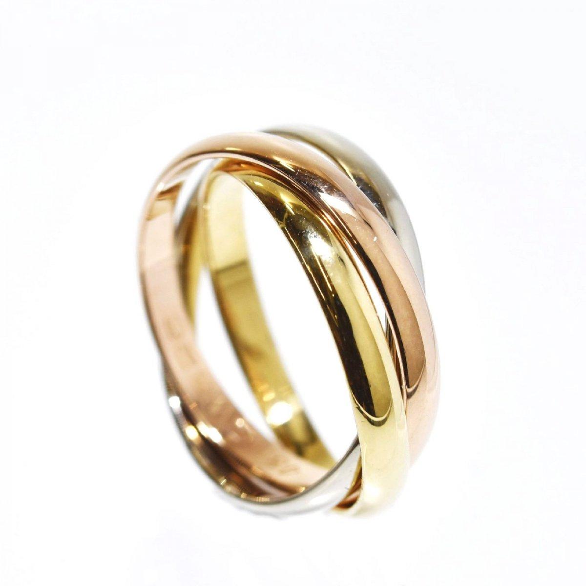 カルティエ K18 ゴールドリング トリニティ 細タイプ 4.3g★#8 Cartier スリーカラーゴールド 三連