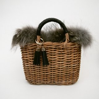 Furry Basketry Tote #Gray
