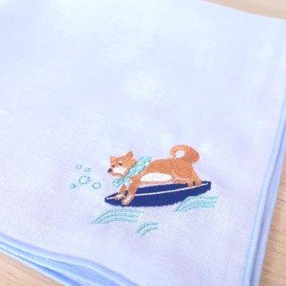 刺繍ハンカチ(いぬサーフィン)