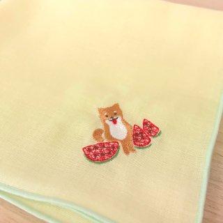 刺繍ハンカチ(いぬスイカ)