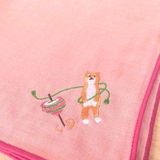 刺繍ハンカチ(いぬコマ)