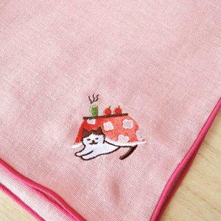 刺繍ハンカチ(ねこ炬燵)