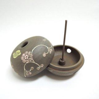 清水焼 焼しめ香炉(花唐草)