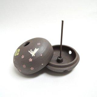 清水焼 焼しめ香炉(桜うさぎ)