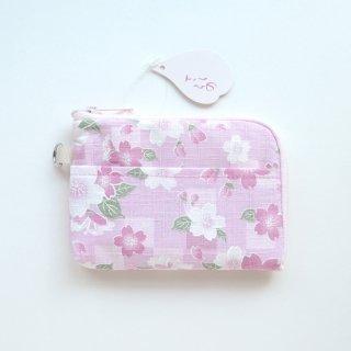さくらの L字ファスナーポーチ/ピンク