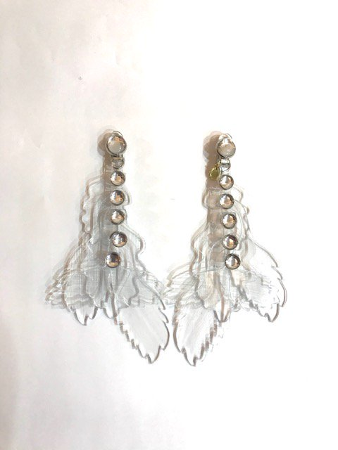 clear leaf earring CLA