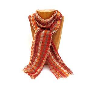 【グァテマラストール】 柔らか手編み綿ストールBR/グアテマラ