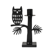 OWL CANDLE HOLDER BLACK