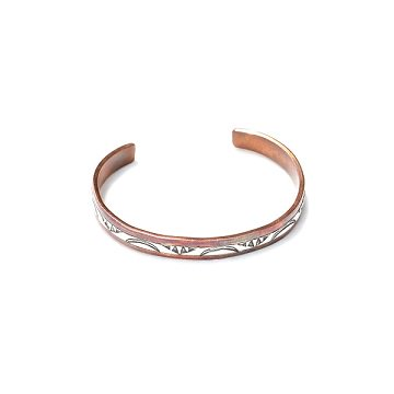 WYLIE SECATERO /NAVAJO STAMPED SIVER COPPER BANGLE