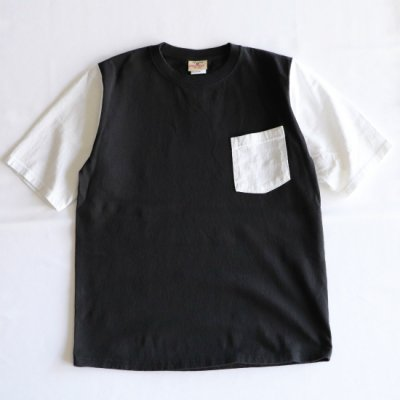 <img class='new_mark_img1' src='https://img.shop-pro.jp/img/new/icons16.gif' style='border:none;display:inline;margin:0px;padding:0px;width:auto;' />GOOD WEAR/ COLOR BLOCK POCKET TEE - BLACK
