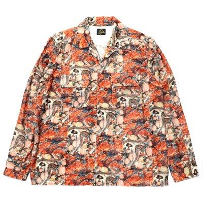 Needles / C.O.B.Classic Shirt - R/PE VELVET (ORANGE/MARBLE)