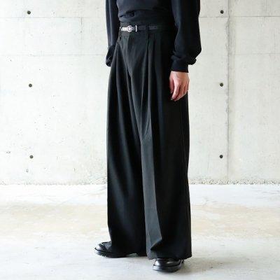 superNova (スーパーノバ) / High Waist Baggy Trouser - (Brushed T/R) - BLACK