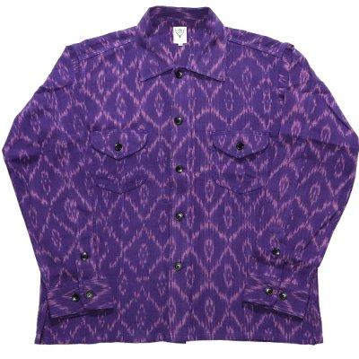 South2West8 (サウスツーウエストエイト) / Smokey Shirt (Ikat Pattern) - PURPLE