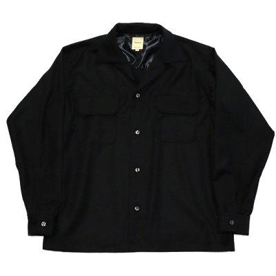 Sanca (サンカ) / WOOL 50'S OPEN SHIRTS - BLACK