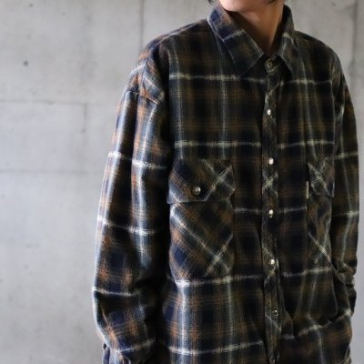 go-getter / Remake Snap Shirt 1 - BROWN/NAVY