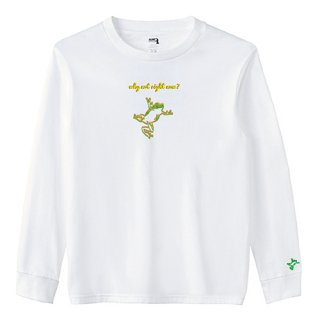 Frog Logo 'why not right now?' Long  T Shirts / White<img class='new_mark_img2' src='https://img.shop-pro.jp/img/new/icons15.gif' style='border:none;display:inline;margin:0px;padding:0px;width:auto;' />
