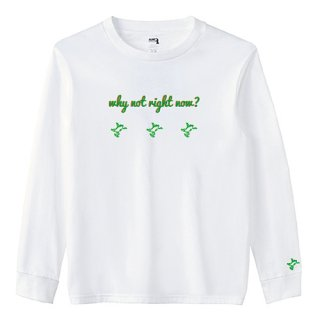 3 Frog Logo White 'why not right now?' Long  T Shirts / White<img class='new_mark_img2' src='https://img.shop-pro.jp/img/new/icons15.gif' style='border:none;display:inline;margin:0px;padding:0px;width:auto;' />