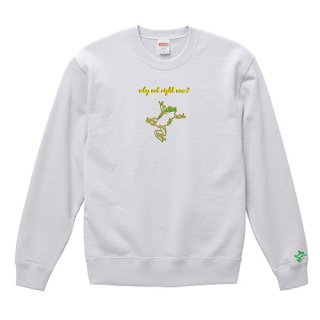 Frog Logo 'why not right now?' Sweat / White<img class='new_mark_img2' src='https://img.shop-pro.jp/img/new/icons15.gif' style='border:none;display:inline;margin:0px;padding:0px;width:auto;' />