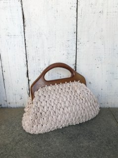 Vintage Wood Handle Straw Purse