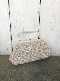 Vintage  Woven Straw Beaded Purse