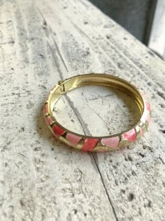 Vintage  Pink and Gold Bangle