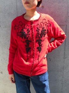 Vintage 60s~70s Red Beaded Cardigan