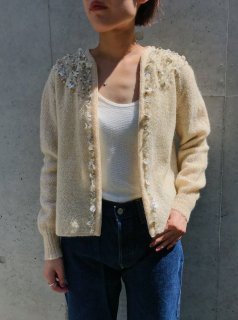 Vintage 50s White Beaded Cardigan