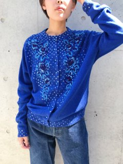 Vintage 60s~70s Blue Beaded Cardigan